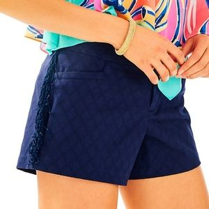 Lilly Pulitzer Navy Fringe Shorts